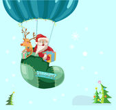 Color Christmas hot air balloon with Santa Royalty Free Stock Photography
