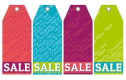 Color christmas labels with sale offer, vector. Illustration royalty free illustration