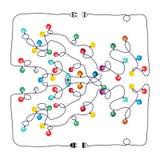 Color Christmas light bulbs. Findway. Color Christmas light bulbs. Findway labyrinth background stock illustration
