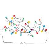 Color Christmas light bulbs. Findway. Color Christmas light bulbs. Findway labyrinth background vector illustration