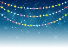 Color Christmas lights. On starry background Stock Photography
