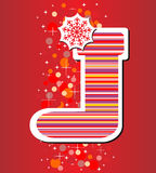 Color christmas sock with snowflakes for Santa gif Royalty Free Stock Images