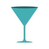 color ciánico de la silueta con el vidrio de cóctel de la bebida stock de ilustración