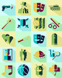 Color cinema genre icon. Vector flat icons set. Cinema genres theme. Color Royalty Free Stock Images