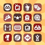 Color cinema icons set Stock Image