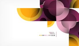 Color circle abstract geometric background, modern shapes with message. Vector techno or business template, round elements Royalty Free Stock Photo