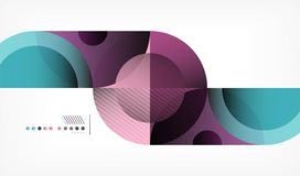 Color circle abstract geometric background, modern shapes with message. Vector techno or business template, round elements vector illustration