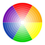 Color circle 6 colors. Color circle with six colors in different gradients stock illustration