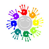 Color circle of hand prints Stock Photo