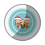 Color circle with middle shadow sticker with children with christmas clothes Stock Images