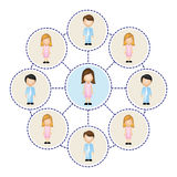 color circle schematic with faceless working groups Royalty Free Stock Image
