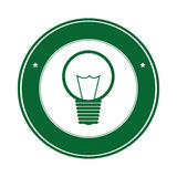 Color circle silhouette with green light bulb icon with filaments. Vector illustration Royalty Free Stock Photography
