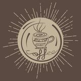 Color circle vintage emblem from coffee shop Stock Images