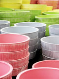 Color circles. Abstract shot of some bright colored flowerpots. Decoration material Stock Image