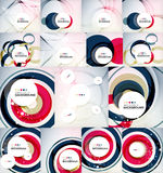 Color circles backgrounds set. Set of color circles composition, rings, with shadows. Abstract backgrounds collection Stock Photography