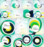 Color circles backgrounds set. Set of color circles composition, rings, with shadows. Abstract backgrounds collection Stock Image
