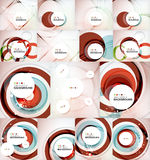 Color circles backgrounds set. Set of color circles composition, rings, with shadows. Abstract backgrounds collection Stock Photos