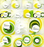 Color circles backgrounds set. Set of color circles composition, rings, with shadows. Abstract backgrounds collection Royalty Free Stock Photos