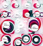 Color circles backgrounds set. Set of color circles composition, rings, with shadows. Abstract backgrounds collection Stock Photo