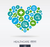 Color circles with flat icons in a heart shape: medicine, medical, health, cross, healthcare concepts. Abstract background. With connected objects in integrated Stock Image