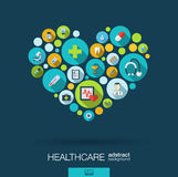 Color circles with flat icons in a heart shape for medicine, medical, health, cross, healthcare concepts. Stock Images