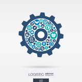 Color circles, icons in a cogwheel shape, distribution, delivery, logistic Royalty Free Stock Photos