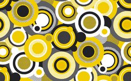 Color circles seamless pattern. Abstract geometric texture. Colorful background with yellow, black, white rings. Chaotic netted round shapes. Decorative royalty free illustration