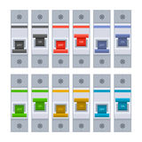 Color Circuit Breakers Set on White Background. Vector Stock Photo