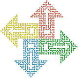 Color circuit computer arrows -  Royalty Free Stock Photos