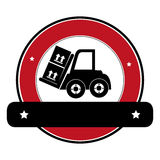 Color circular emblem with banner and forklift truck with forks and boxes. Vector illustration Stock Images