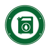 Color circular emblem with bio fuel container Stock Images