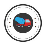 Color circular emblem with cement mixer truck Royalty Free Stock Photography