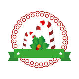 Color circular emblem with christmas candy cane Stock Photo