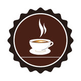 Color circular emblem with coffee cup Royalty Free Stock Image