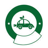 Color circular emblem with electric eco car Royalty Free Stock Image