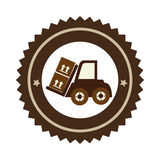 Color circular emblem with forklift truck with forks and boxes Royalty Free Stock Photography