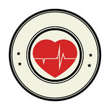 Color circular emblem with heart with line vital sign Stock Photos