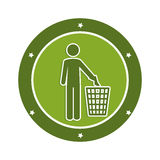 Color circular emblem with man and trash container Stock Photo