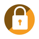 Color circular emblem with padlock icon Royalty Free Stock Photography