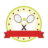 Color circular emblem with ribbon and ball and tennis rackets Royalty Free Stock Photography