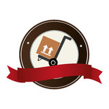 Color circular emblem with ribbon and hand truck with box Stock Photos