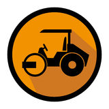 Color circular emblem with road roller Stock Image