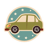 Color circular emblem with small automobile Stock Photography