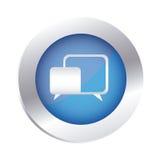Color circular emblem with speech icon. Illustration royalty free illustration