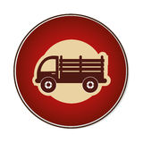 Color circular emblem with stakes truck. Vector illustration Stock Image