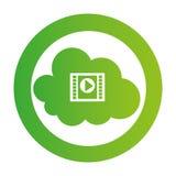 Color circular emblem with video cloud service. Vector illustration royalty free illustration
