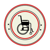 Color circular emblem with wheelchair Royalty Free Stock Photos