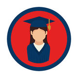 Color circular emblem with woman with graduation outfit Stock Photography