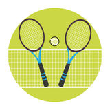 Color circular frame with ball and net and tennis rackets Royalty Free Stock Photography