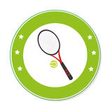Color circular frame with ball and tennis racket Royalty Free Stock Image